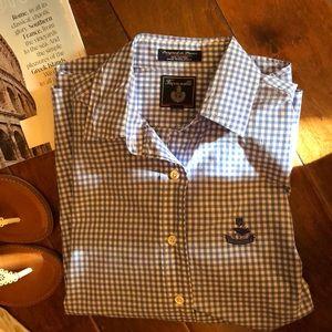 Faconnable blue&white check blouse